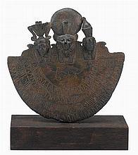 Egyptian bronze Aegis of Sakhmet or Bastet, third intermediate to ptolemaic period, 1069-30 b.c., On later custom stand