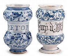Two Italian majolica alberello, savona, 18th century, Both of double-lobed and waisted form, one bearing the inscription