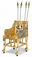 Egyptian Revival polychrome and giltwood replica of King Tutankhamen's throne chair, , The square back decorated to show the young Phar