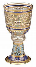 Austrian J. & L. Lobmeyr enamel and gilt painted glass goblet, vienna, circa 1900, The bowl-form cup over compressed knop and flaring b