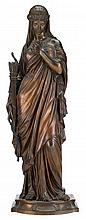 Eugene Aizelin (French 1821-1902), 'penelope', Bronze, mid-brown patina, modelled standing with her hand at her chest, the other hold