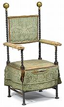 Baroque style steel and bronze chair, 19th century, The square back between spiral cast supports surmounted by faceted brass spheres, s