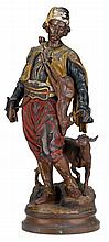 Austrian cold painted figure of a Moorish hunter, emile guillemin (french, 1842-1907), Modelled with deer, the circular base signed