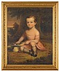 American School 19th century, portrait of a young boy, possibly george seckel, Oil on canvas, framed.