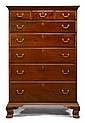 Chippendale walnut tall chest, philadelphia, pa, late 18th century, Molded cornice above three short and five long lip molded drawers,