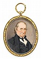 American School 19th century, miniature portrait of a philadelphia gentleman, Watercolor on ivory, gilt locket case.