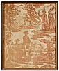 Commemorative copper plate printed textile, the apotheosis of washington and franklin, england, late 18th century, Printed in red, fram
