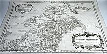 1 piece. Bellin, Jacques N. Engraved Map.  Carte l'Amérique Septentrionale ... le 28 degre de latitute ... 72.