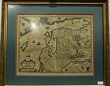 3 pieces. Hand-Colored Engraved Maps: Bleau, Willem.