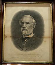 1 piece. (Civil War.) Walter, A.B. Engraving. Robert E. Lee bust portrait in Confederate uniform. Lexington: Lee Memorial...