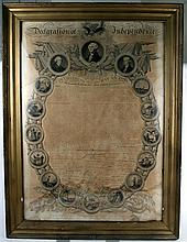1 piece. Binns, John. Engraved Declaration of Independence. [Philadelphia], Nov 4, 1818. 35 x 24 1/2 in; 890 x 620 mm. Mtd...