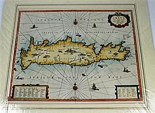 7 pieces.  Continental & Mediterranean Subjects - Hand-Colored Maps &c: Bleau, Willem.