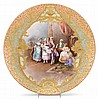 Large Limoges hand-painted and gilt porcelain charger, circa 1900, signed dubois, Centrally painted with a scene of a courtly couple an, Gerd Arntz, $500