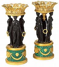 Large pair of Empire style gilt and patinated bronze and malachite jardinières, 20th century, in the manner of pierre-philippe thomire