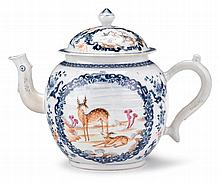 Large Chinese export porcelain teapot with deer, mid-18th century, Painted in the famille rose palette, the domed lid with vignettes of