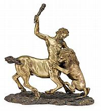 After Tommaso Campaiola (Italian, 20th century) bronze patinated group,