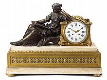 Louis XVI style gilt and patinated bronze and white marble