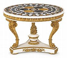 Empire style pietra dura inlaid marble and giltwood center table, 20th century, The circular marble top with pietra dura inlay centered