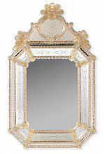 Two Venetian etched glass mirrors, 20th century, With arched cornice above rectangular beveled and floral etched mirror with