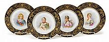 Four Sèvres style hand-painted and gilt decorated porcelain cabinet plates, 19th century, signed rochelle, Depicting Napoleon, Josephin