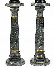 Pair of gilt metal mounted green marble pedestals, 20th century, The circular top with molded edge raised on a spiral carved tapering c