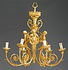 Louis XVI style gilt bronze six-light chandelier, 20th century, The three caryatid figures holding foliate swags and issuing pairs of s