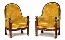 Pair of Empire style mahogany, giltwood and lapis lazuli bergères, circa 1900, in the manner of jacob desmalter, The arched back with t