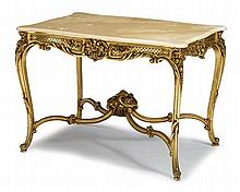 Louis XV style giltwood onyx top center table, 20th century, The shaped rectangular top above conforming floral carved frieze raised on