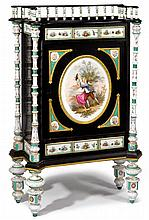 Fine KPM painted porcelain, ebonized, and gilt bronze mounted cabinet, third quarter 19th century, The serpentine top with three-quarte