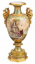 Exceptionally fine Vienna decorated KPM style hand- and gilt-painted pale green ground porcelain urn, , In two sections, the flared rim