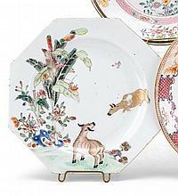 Chinese export porcelain octagonal plate with oxen, mid-18th century, Polychrome and gilt painted in the famille rose palette with oxen