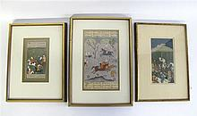Collection of five Indo-Persian framed painted miniatures, 19th/20th century, Depicting a polo match, two hunting parties, a falconer o