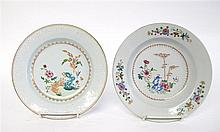 Two Chinese export porcelain famille rose plates, circa 1750, Of circular dished form, both painted in the famille rose palette with pe