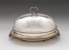 George III Sheffield silverplate roast dish with cover, t. & j. creswick, sheffield, circa 1811, Large oval tree-and-well platter with