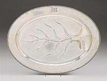 Large sterling silver tree-and-well serving platter, reed & barton, taunton, ma, 20th century, Oval form with beaded edge, raised on fo