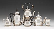 George V Art Deco silver tea service, roberts & belk ltd., sheffield, 1927-28, retailed by j.e. caldwell & co., Comprising a hot water