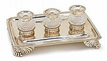 Regency silver desk stand, joseph craddock & william ker reid, london, 1816-17, Rectangular shape with gadrooned border, raised on four