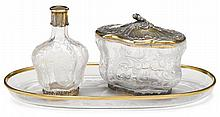 French silver-gilt and etched glass dressing table set, gustave keller, paris, 1881-1922, Comprising a perfume bottle and covered box,