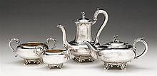 William IV four-piece silver tea and coffee service, robert hennell iii, london, 1831-34, Comprising a teapot, coffee pot, open sugar,
