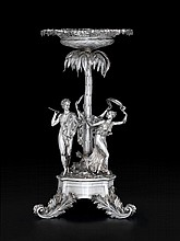 A Fine George III silver centerpiece, john bridge for rundell, bridge, and rundell, london, 1809-10, The stem formed as a palm tree sur