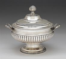 Regency silver covered tureen, joseph craddock & william ker reid, london, 1812-13, Bulbous oval form with lobed lower body, raised on