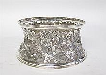 English silverplated dish ring, , Typical form, openworked and incised with dog, fox, and swan in motion, scrolling foliage and berry c