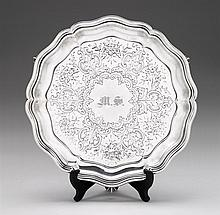 Edward VII silver salver, hukin & heath, birmingham, 1902-03, Shaped circular salver chased with florals, foliate, and C-scrolls, monog