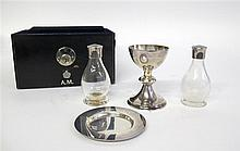 George VI silver traveling communion set, roberts & belk, sheffield, 1937-38, Comprising a chalice, paten, and two silver-mounted glass