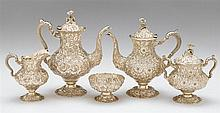 Sterling silver five-piece tea and coffee service, stieff company, baltimore, md, 1904-29, Comprising a coffee and teapot, covered suga