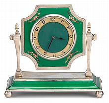 George V Art Deco guilloche enamelled silver desk clock, arthur barnett & co., ltd., birmingham, 1926-27, Circular face, the calendar d