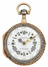 A fine tri-color gold and enameled, quarter repeating, fusee pocket watch, F. Musson, Paris circa 1760, black on white Roman numeral di