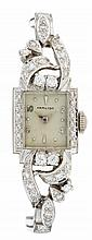 A diamond and fourteen karat white gold bracelet wristwatch, Hamilton, , square dial with Arabic and dot numerals signed by the maker,