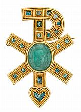 An emerald and eighteen karat gold Chi Rho brooch, Castellani, circa 1860, centering a carved emerald measuring approximately 16.00 x 1