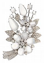 A moonstone, diamond and eighteen karat white gold brooch and earrings, , floral motif highlighting cabochon moonstones, accented by ol